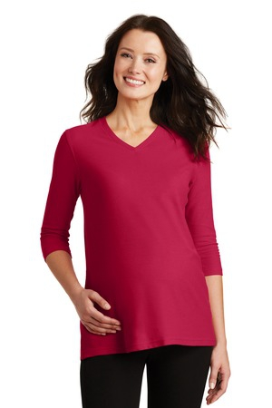 Port Authority Ladies Silk Touch Maternity 3/4Sleeve VNeck Shirt. L561M