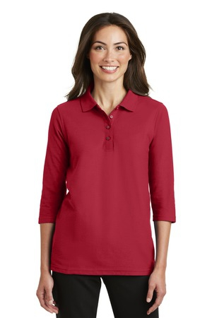 Port Authority Ladies Silk Touch 3/4Sleeve Polo. L562