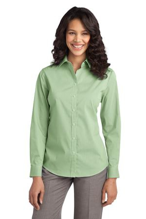 Port Authority Ladies Fine Stripe Stretch Poplin Shirt. L647