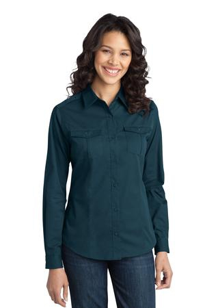 Port Authority Ladies StainRelease Roll Sleeve Twill Shirt. L649