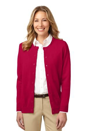 Port Authority Ladies Value JewelNeck Cardigan Sweater. LSW304