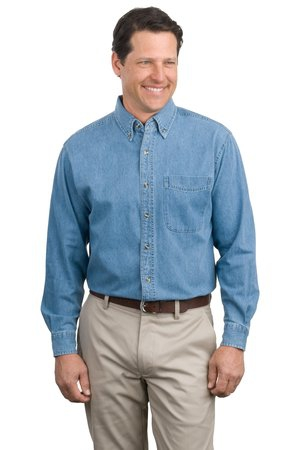 Port Authority Long Sleeve Denim Shirt. S600
