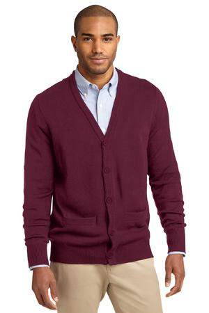Port Authority Value VNeck Cardigan Sweater with Pockets. SW302