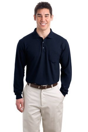 Port Authority Tall Silk Touch Long Sleeve Polo with Pocket. TLK500LSP