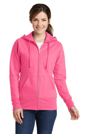 Port & Company Ladies Core Fleece FullZip Hooded Sweatshirt. LPC78ZH
