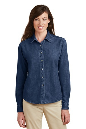 Port & Company  Ladies Long Sleeve Value Denim Shirt.  LSP10