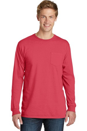 Port & Company PigmentDyed Long Sleeve Pocket Tee.  PC099LSP