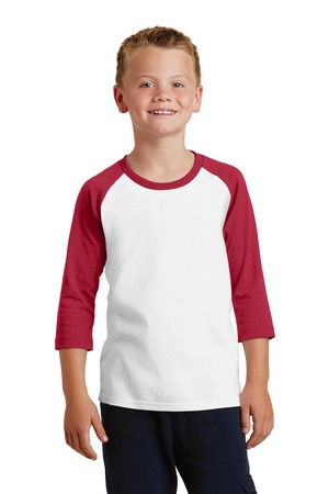 Port & Company Youth Core Blend 3/4Sleeve Raglan Tee. PC55YRS