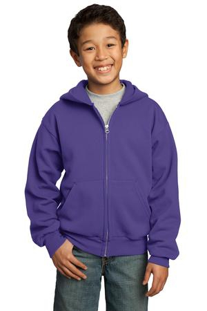 Port & Company  Youth Core Fleece FullZip Hooded Sweatshirt.  PC90YZH
