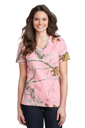 Russell Outdoors Realtree Ladies 100% Cotton VNeck TShirt. LRO54V