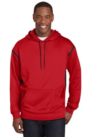 SportTek Tech Fleece Colorblock Hooded Sweatshirt. F246