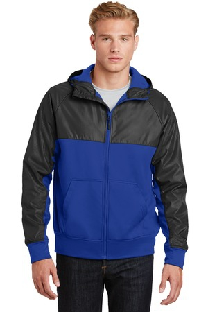 SportTek Embossed Hybrid FullZip Hooded Jacket. JST50