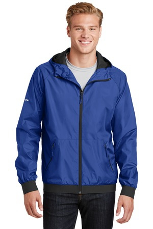 SportTek Embossed Hooded Wind Jacket. JST53