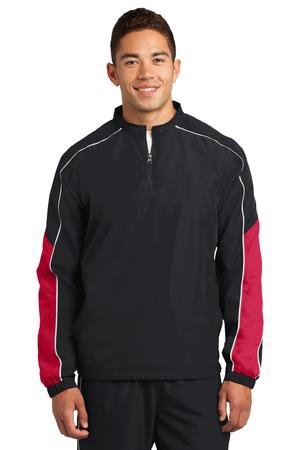 SportTek Piped Colorblock 1/4Zip Wind Shirt. JST64