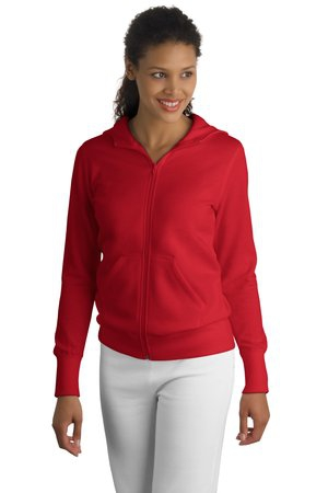 SportTek Ladies FullZip Hooded Fleece Jacket. L265