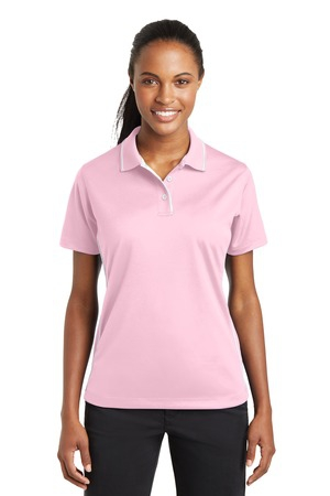 SportTek Ladies DriMesh Polo with Tipped Collar and Piping.  L467