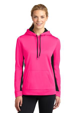 SportTek Ladies SportWick Fleece Colorblock Hooded Pullover. LST235