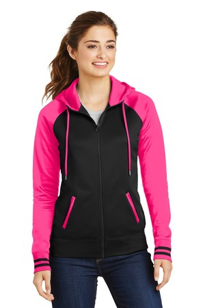 SportTek Ladies SportWick Varsity Fleece FullZip Hooded Jacket. LST236