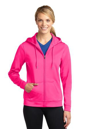SportTek Ladies SportWick Fleece FullZip Hooded Jacket. LST238