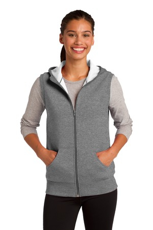 SportTek Ladies Hooded Fleece Vest. LST268