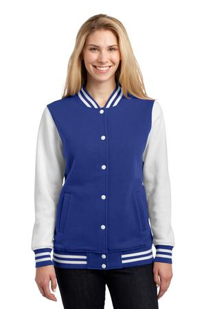 SportTek Ladies Fleece Letterman Jacket. LST270