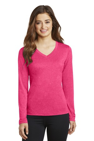 SportTek Ladies Long Sleeve Heather Contender VNeck Tee. LST360LS