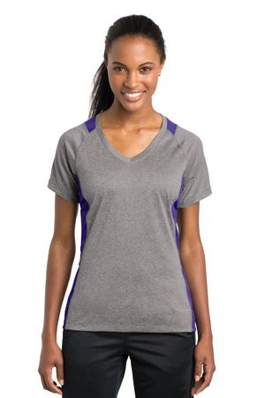 SportTek Ladies Heather Colorblock Contender VNeck Tee. LST361