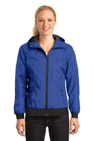 SportTek Ladies Embossed Hooded Wind Jacket. LST53