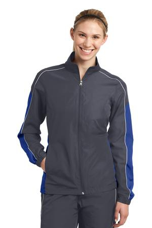 SportTek Ladies Piped Colorblock Wind Jacket. LST61