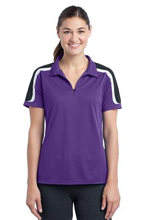 SportTek Ladies Tricolor Shoulder Micropique SportWick Polo. LST658