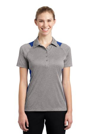 SportTek Ladies Heather Colorblock Contender Polo. LST665