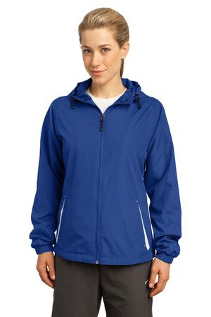 SportTek Ladies Colorblock Hooded Raglan Jacket. LST76
