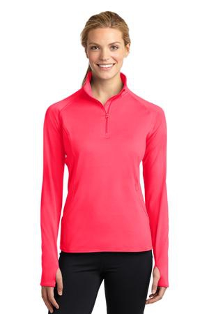 SportTek Ladies SportWick Stretch 1/2Zip Pullover. LST850