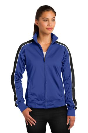 SportTek Ladies Piped Tricot Track Jacket. LST92