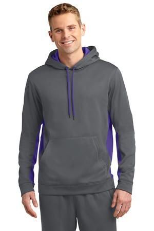SportTek SportWick Fleece Colorblock Hooded Pullover. ST235