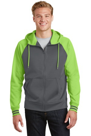 SportTek SportWick Varsity Fleece FullZip Hooded Jacket. ST236
