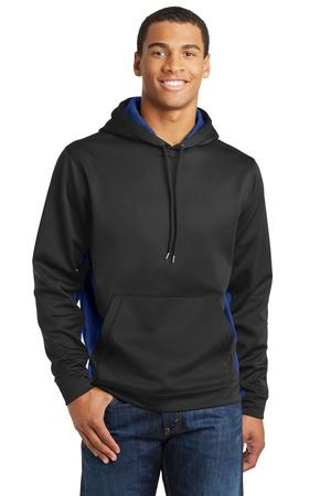 SportTek SportWick CamoHex Fleece Colorblock Hooded Pullover. ST239