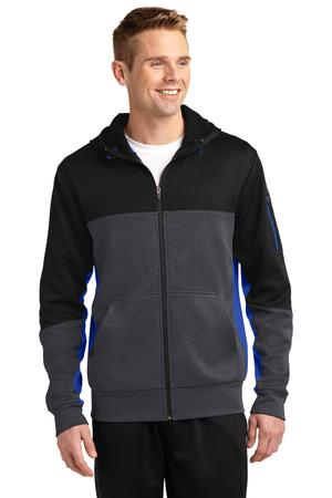 SportTek Tech Fleece Colorblock FullZip Hooded Jacket. ST245