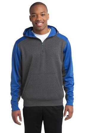 SportTek  Tech Fleece Colorblock 1/4Zip Hooded Sweatshirt. ST249