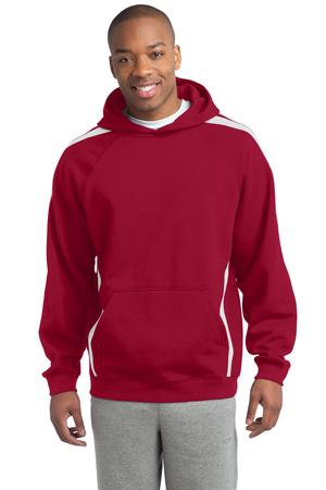 SportTek Sleeve Stripe Pullover Hooded Sweatshirt. ST265