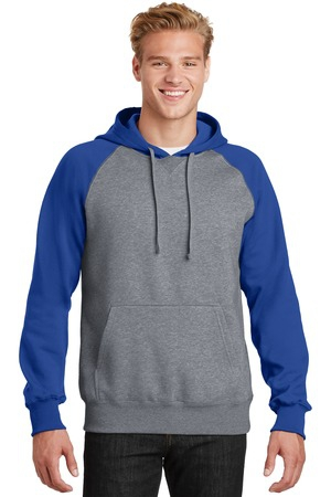 SportTek Raglan Colorblock Pullover Hooded Sweatshirt. ST267