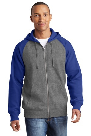 SportTek Raglan Colorblock FullZip Hooded Fleece Jacket.  ST269