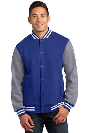 SportTek Fleece Letterman Jacket. ST270