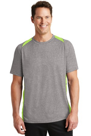 SportTek Heather Colorblock Contender Tee. ST361