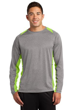 SportTek Long Sleeve Heather Colorblock Contender Tee. ST361LS