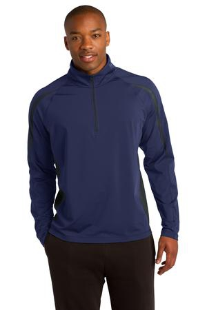 SportTek SportWick Stretch 1/2Zip Colorblock Pullover. ST851