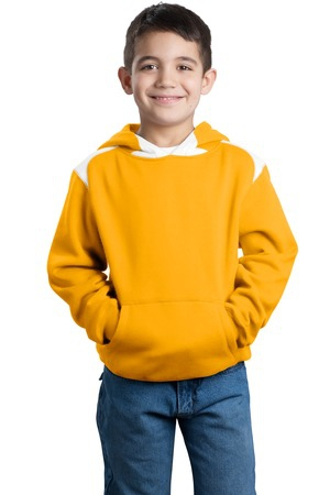 SportTek Youth Pullover Hooded Sweatshirt with Contrast Color. Y264