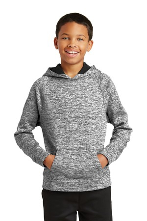 SportTek Youth PosiCharge Electric Heather Fleece Hooded Pullover. YST225