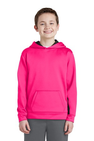 SportTek Youth SportWick Fleece Colorblock Hooded Pullover.  YST235