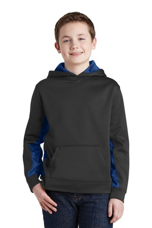 SportTek Youth SportWick CamoHex Fleece Colorblock Hooded Pullover.  YST239